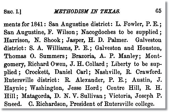 1841 Methodist Preacher Appointments