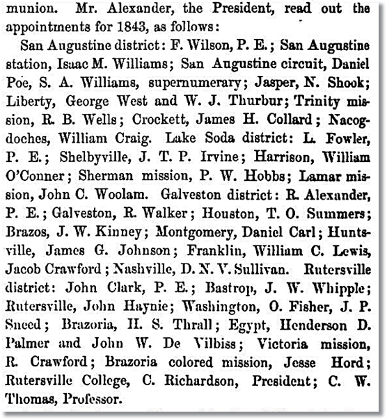 1843 Methodist Appointments in Texas