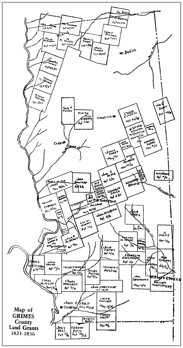 Map from Appendix II of Early History of Grimes County by E. L. Blair