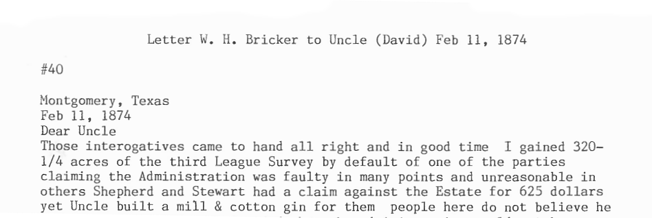 1874 W. H Bricker Letter from the Bricker Papers