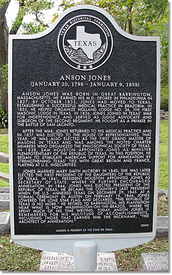 Anson Jones Historical Marker