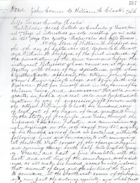 Deed - John Corner to William C. Clark
