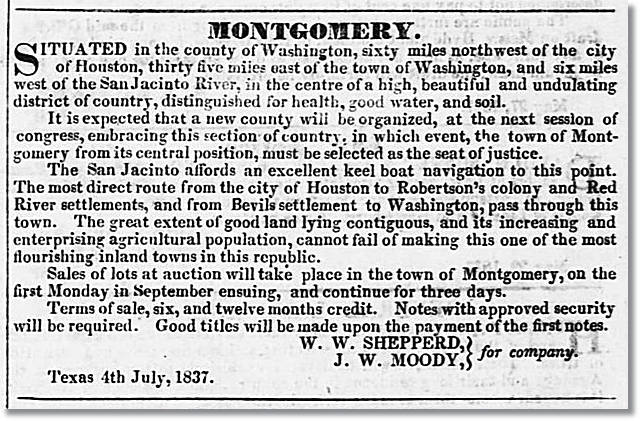 July 8, 1837 - Advertisement for the Town of Montgomery