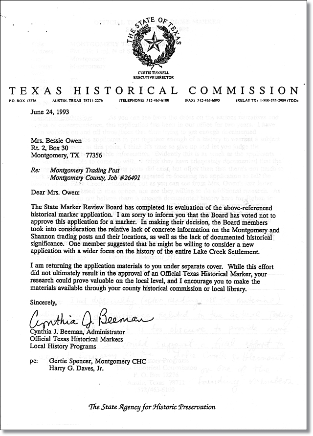 1993 Letter Rejecting Montgomery Trading Post Marker