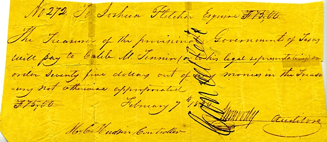 J. W. Moody Signing as Auditor February 7, 1836