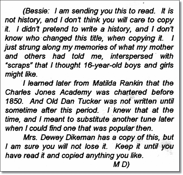 Mary Davis advises Bessie Price Owen that her paper