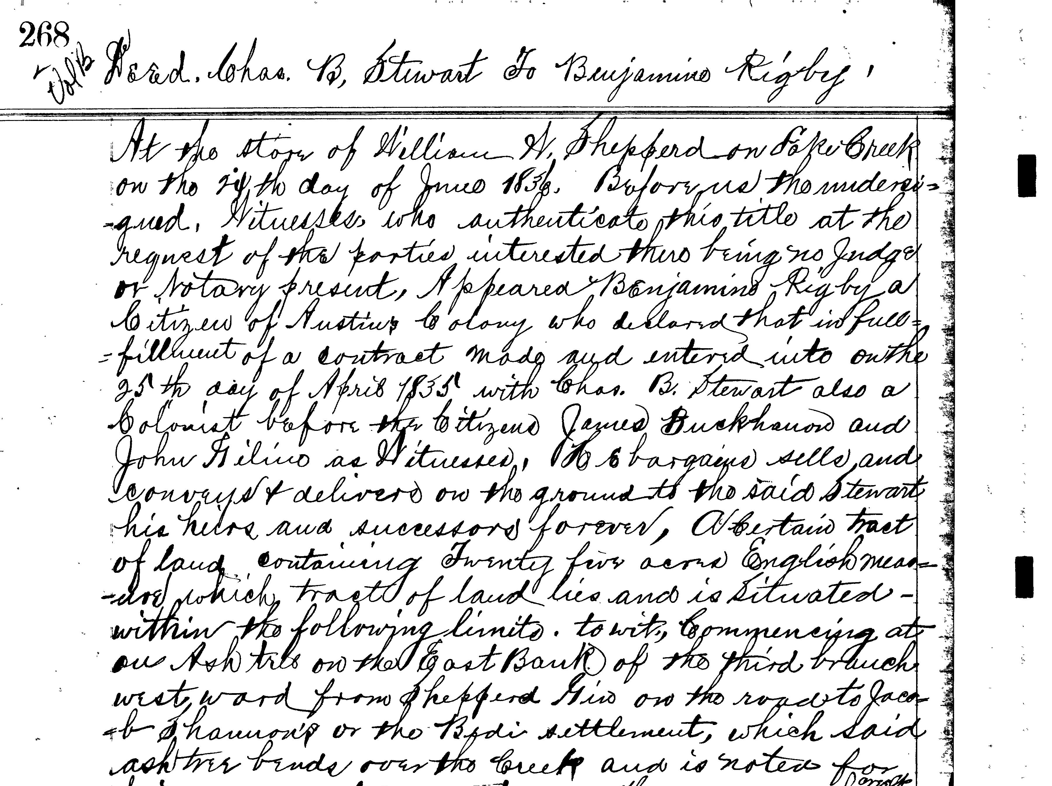 Montgomery County Clerk, Deed Book B, page 268