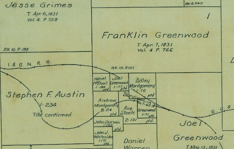 1922 Grimes County map showing Andrew Montgomery's bounty grant to the west of Stoneham