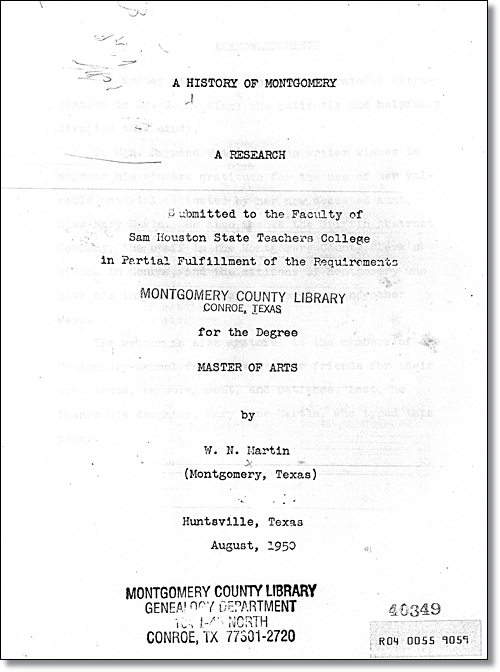 1950 Thesis of W. N. Martin -