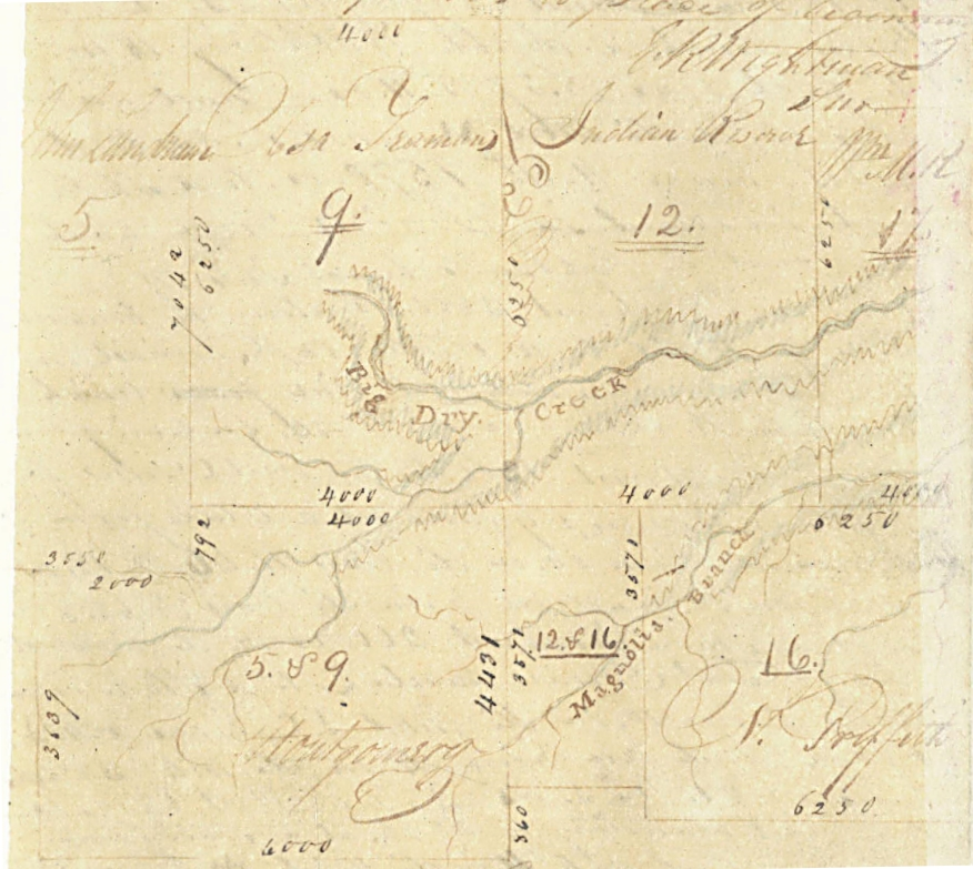 Plat from English Field Notes Prepared by Surveyor Elias R. Wightman