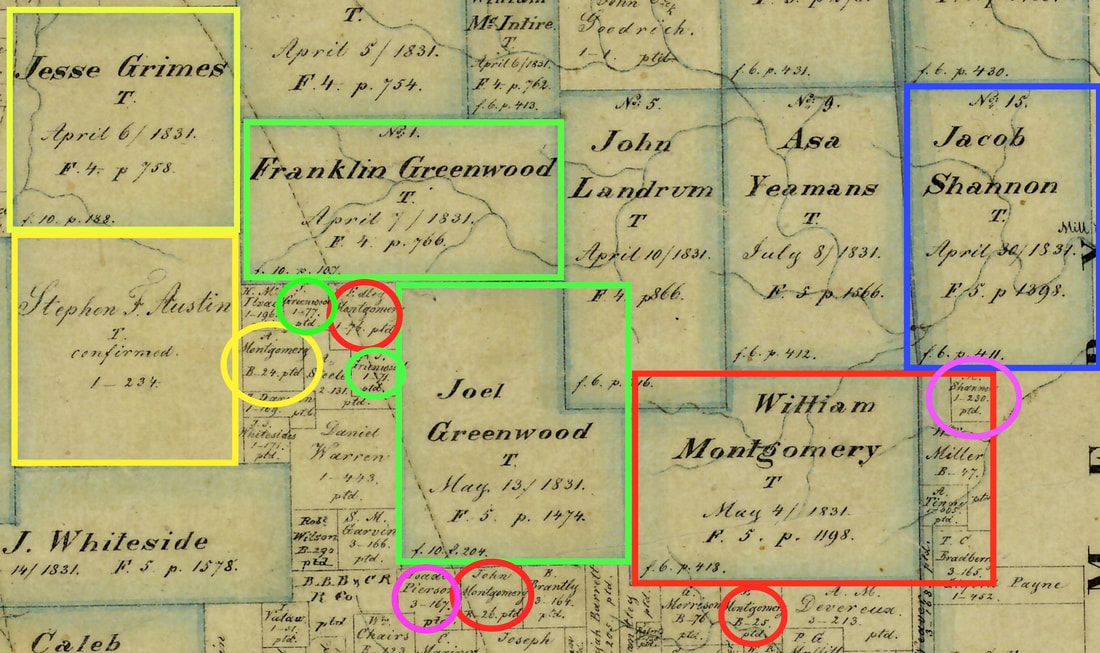 Andrew Montgomery did not receive the land circled in yellow from Stephen F. Austin