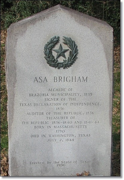 Asa Brigham - 1936 Texas Centennial Marker in Washington Cemetery