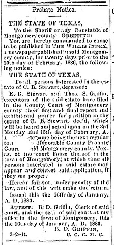 1886 Probate Notice - Estate of Charles Bellinger Stewart