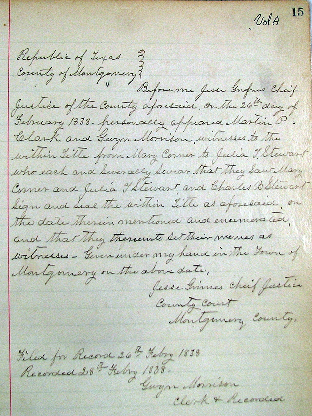 Montgomery County Seat - February 26, 1838