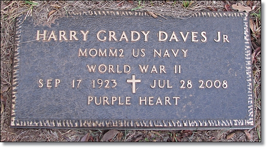 Marker on Grave of Harry G. Daves, Jr.