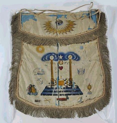 Republic of Texas Era Masonic Apron Worn Until the 1850's